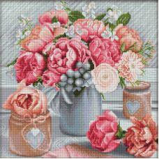Мозаика стразами Романтичный букет, 40x40, полная выкладка, Алмазная живопись