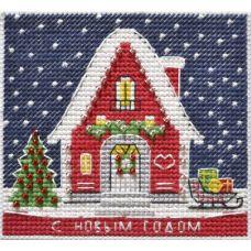 Набор для вышивания крестом Магнит Новогодний домик, 9,5x8,7, Овен