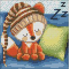 Мозаика стразами Сонный лисенок, 15x15, полная выкладка, Алмазная живопись