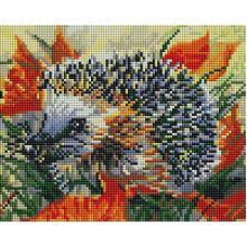Алмазная мозаика Ёжик в осеннем лесу, 20x25, полная выкладка, Белоснежка