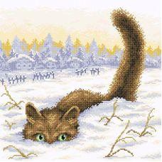 Алмазная мозаика Кот в снегу, 38x38, полная выкладка, Brilliart (МП-Студия)