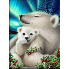 Мозаика стразами Белые медведи, 30x40, полная выкладка, Алмазная живопись