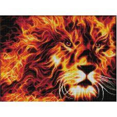 Мозаика стразами Огненный лев, 30x40, полная выкладка, Алмазная живопись