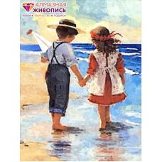 Мозаика стразами Дети у моря, 30x40, полная выкладка, Алмазная живопись