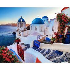 Мозаика стразами Вечер на Санторини, 40x50, полная выкладка, Алмазная живопись