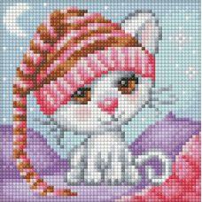 Мозаика стразами Сонный котенок, 15x15, полная выкладка, Алмазная живопись