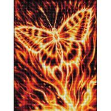 Мозаика стразами Огненная бабочка, 30x40, полная выкладка, Алмазная живопись