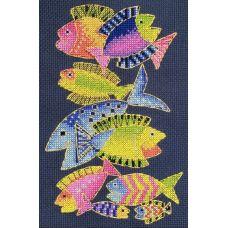 Набор для вышивания крестом Райские рыбки-мини, 12x19, НеоКрафт