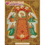 Мозаика стразами Икона Богородица Прибавление Ума, 22x28, частичная выкладка, Алмазная живопись