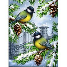 Мозаика стразами Синички зимой, 30x40, полная выкладка, Алмазная живопись