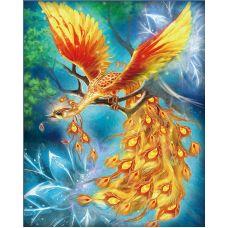 Мозаика стразами Жар-птица, 40x50, полная выкладка, Алмазная живопись