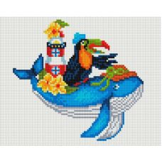 Алмазная мозаика Синий кит, 20x25, полная выкладка, Белоснежка