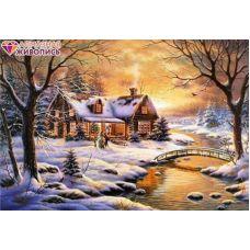 Мозаика стразами Вдали от города, 40x50, полная выкладка, Алмазная живопись