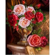 Мозаика стразами Благородные розы, 30x40, полная выкладка, Алмазная живопись
