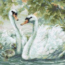 Алмазная мозаика Белые лебеди, 30x30, полная выкладка, Риолис