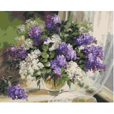 Живопись по номерам Сирень у окна, 40x50, Hobruk, U8049