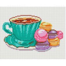 Алмазная мозаика Кофе и макаруны, 20x25, полная выкладка, Белоснежка