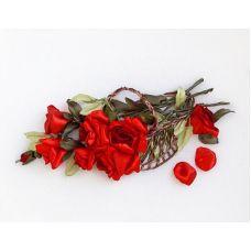 Набор для вышивания лентами, Красные розы в корзине, 20x41, Любава