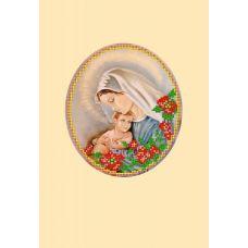Набор для вышивания с бисером и паспарту Мать и дитя, 24x26 (14x16), Матренин посад