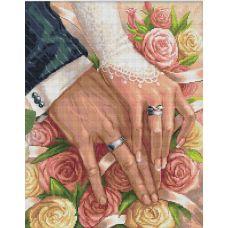Мозаика стразами В день свадьбы, 40x50, полная выкладка, Алмазная живопись