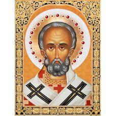 Мозаика стразами Икона Николай Чудотворец, 30x40, полная выкладка, Алмазная живопись