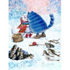 Живопись по номерам Зимняя рыбалка, 40x50, Paintboy, GX5017