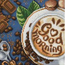 Мозаика стразами Доброе утро, 25x25, полная выкладка, Алмазная живопись