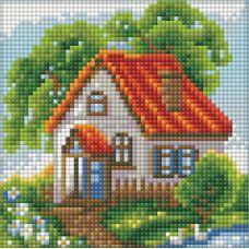 Мозаика стразами Летний домик, 15x15, полная выкладка, Алмазная живопись
