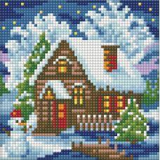 Мозаика стразами Зимний домик, 15x15, полная выкладка, Алмазная живопись