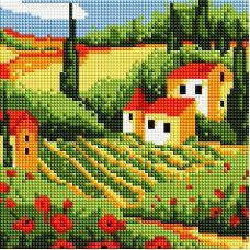 Алмазная мозаика Сельский пейзаж, 20x20, полная выкладка, Белоснежка