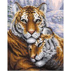 Алмазная мозаика Тигры, 38x48, полная выкладка, Brilliart (МП-Студия)