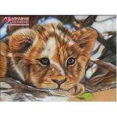 Мозаика стразами Львенок, 30x40, полная выкладка, Алмазная живопись