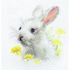 Набор для вышивания крестом Белый крольчонок, 9x9, Алиса