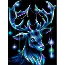 Мозаика стразами Неоновый олень, 30x40, полная выкладка, Алмазная живопись
