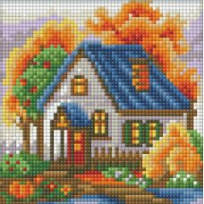 Мозаика стразами Осенний домик, 15x15, полная выкладка, Алмазная живопись