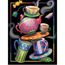 Мозаика стразами Чайная фантазия, 30x40, полная выкладка, Алмазная живопись