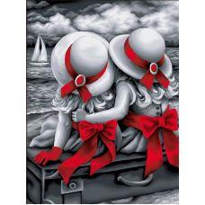 Мозаика стразами Сестрички, 30x40, полная выкладка, Алмазная живопись