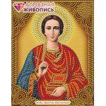 Мозаика стразами Икона Пантелеймон Целитель, 22x28, частичная выкладка, Алмазная живопись
