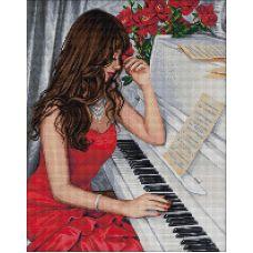 Мозаика стразами Пианистка, 40x50, полная выкладка, Алмазная живопись