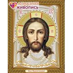Мозаика стразами Икона Спас Нерукотворный, 22x28, частичная выкладка, Алмазная живопись