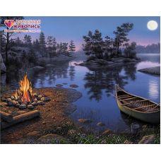 Мозаика стразами У ночного костра, 40x50, полная выкладка, Алмазная живопись