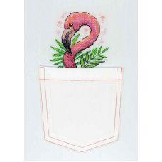 Набор для вышивания крестом по водорастворимой канве Розовый фламинго, 9x9, Жар-Птица (МП-Студия)