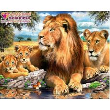 Мозаика стразами Львиный прайд, 40x50, полная выкладка, Алмазная живопись