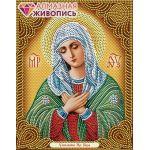 Мозаика стразами Икона Богородица Умиление, 22x28, частичная выкладка, Алмазная живопись