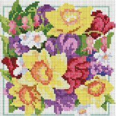 Алмазная мозаика Солнечный букет, 20x20, полная выкладка, Белоснежка