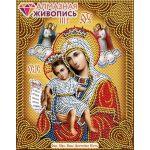 Мозаика стразами Икона Богородица Достойно есть, 22x28, частичная выкладка, Алмазная живопись
