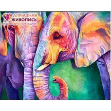 Мозаика стразами Мудрость слонов, 40x50, полная выкладка, Алмазная живопись