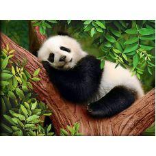 Мозаика стразами Сонная панда, 40x30, полная выкладка, Алмазная живопись