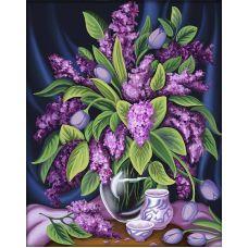 Мозаика стразами Роскошная сирень, 40x50, полная выкладка, Алмазная живопись