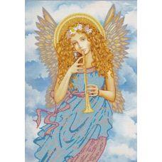 Ткань для вышивания бисером Играющий ангел, 29x39, Конек